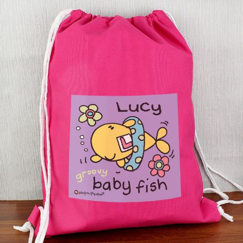 Personalised Bang On The Door Baby Fish Girls Swim bag